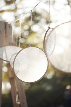 Lace filled embroidery hoops helped define the backdrop.
