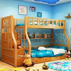 Dzieci Dzieci Łóżka Meble z Litego drewna w górę iw dół podwójna warstwa łóżka dla dzieci hurtownie 190*150*178 cm szuflady i lader hot