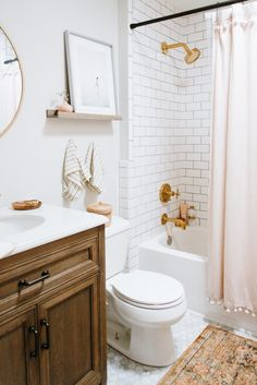 With some savvy shopping and design tricks, Caitlin was able to recreate the light and airy, Pinterest-perfect bathroom she envisioned in