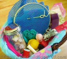 Toddler Friendly Sewing Basket.  This is perfect! The girls could sew with me!