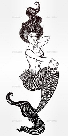 Mermaid Outline Illustration - Tattoos Vectors