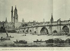 Old London Bridge, after the removal of the houses 1758 London History, London Bridge, River Thames, Old London, 18th Century, Taj Mahal, Houses, Travel, Twitter
