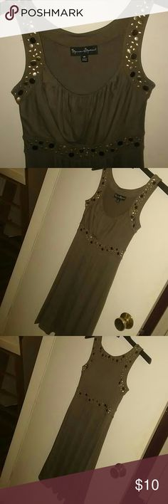 Grey/brown Studded mini dress Dark grayish brown color, with different size gold and silver studs around trim, creating a very unique and stylish dress. Sinched waist, not too short above the knee, easy to move around in. Very comfortable, was always a conversation peice. Dresses Midi