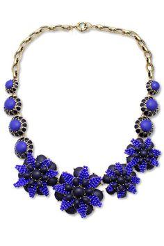 Cool Blue Flower Pendant Necklace