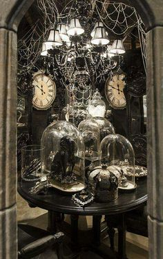 Halloween decorations - old clocks look spooky too.