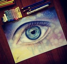 Eye pencil drawing by Ester R http://webneel.com/40-beautiful-and-realistic-pencil-drawings-human-eyes | Design Inspiration http://webneel.com | Follow us www.pinterest.com/webneel