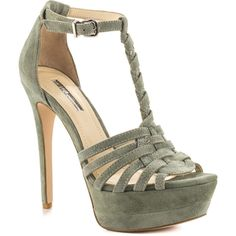 BCBGeneration Women's Vixen - Sage Suede ($109) ❤ liked on Polyvore featuring shoes, suede shoes, t bar shoes, suede platform shoes, stiletto high heel shoes and adjustable shoes