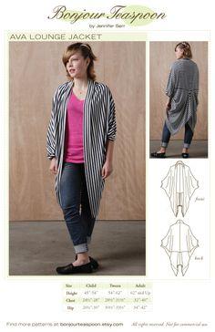 Ava Lounge Jacket Sewing Pattern - Size Adult /Teen / Tween - Hard Copy Sewing Pattern. $15.00, via Etsy.