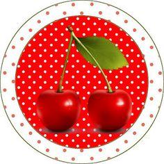 LARGE PRINTABLE SET Cereja Vermelha – Kit Completo com molduras para convites, rótulos para guloseimas, lembrancinhas e imagens! | Fazendo a Nossa Festa