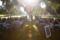 When planning your outdoor wedding, be aware of the location of the sun and its movement.  It can add a beautiful dimension to the photos or it can cause your officiant and bridal party to scowl and squint!  Visit the venue near the time of day you plan to marry.