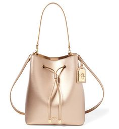 523045b6b2a4 lauren leather debby drawstring bag by Ralph Lauren. A contrasting interior  and removable strap with