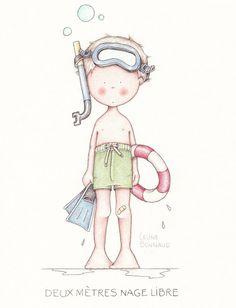 Cute Illustration: Deux Mètres nage libre - Celine Bonnaud