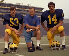 1971 Football captains Guy Murdock and Frank Gusich with Schembechler~ awesome picture and awesome men! We miss Frank & Bo- they were amazing people!!!