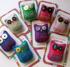 Felt Owl Brooches Button Pin Embroidery