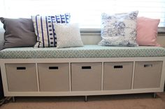 Mommy Vignettes: Ikea No-Sew Window Bench Tutorial Turning ikea bookcase into bench below window for storage!