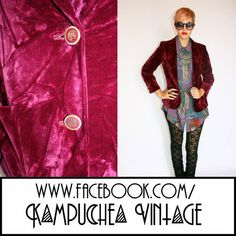 Vintage Red Pink Velvet Jacket Blazer Womens szS - 1990s Indie Preppy FREE P £40 Cracker of a indie velvet jacket right here. Fully lined with soft satin and really well mad wth gold crest feature buttons, 2 front pockets and one of those awesome chain branding tags. Cut with thin shoulder pads this will look amazing over a little dress of with leggins and a band tee. Just waiting for you to take it out to your next gig.