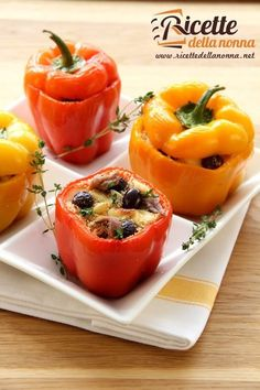 Grilled Black Bean- and Rice-Stuffed Peppers - 3 pt for each pepper serving. This is so delicious! I like to add 2 Jennie-O Fresh Italian Sausage Links, crumbled and sauteed. I also sub 1 can of Italian Stewed Tomatoes for the plum tomato and cilantro. Stuffed Peppers With Rice, Cheese Stuffed Peppers, Sausage And Peppers, Mexican Food Recipes, Vegetarian Recipes, Cooking Recipes, Grilling Recipes, Easy Recipes, Black Beans And Rice