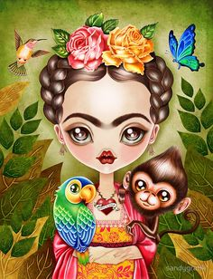 Modern Cross stitch by Sandra Vargas ' Frida Kahlo- Contemporary Fairy Tale Needlecraft kit Modern Cross Stitch, Cross Stitch Kits, Cross Stitch Patterns, Frida Artist, Frida E Diego, Diego Rivera, Arte Popular, Mexican Art, Giclee Print