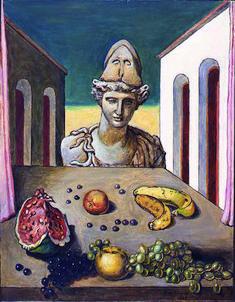 Le opere di Giorgio de Chirico Giorgio de Chirico Vita silente metafisica con busto di Minerva, 1973 Olio su tela, cm 90x70