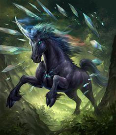 Horses unicorn run fantasy - Fantasy Anime, Fantasy Kunst, Fantasy World, Mythical Creatures Art, Mythological Creatures, Magical Creatures, Fantasy Beasts, Unicorn Art, Black Unicorn