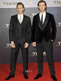 Tom Hiddleston and Chris Hemsworth at Thor: The Dark Kingdom - Germany Premiere