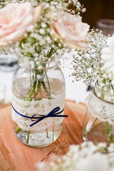 Lace and pearl mason jars - FULL CENTERPIECE SET - 36 jars. $150.00, via Etsy.  Easy peasy to make. Lace from the thrift store, ribbon from $ store and jars from home.