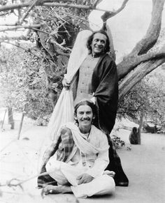 The Beatles' George Harrison with Ravi Shankar in India