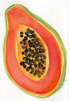 Papaya painting Original Watercolor by SharonFosterArt on Etsy, $15.00 #watercolor artist