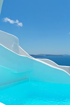 Blue Pool & Sky in Oia, Santorini, Greece