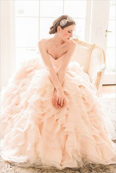 Peach ballgown wedding dress.