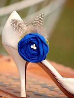 Shoe Clips Royal Blue Embellishment. Mediterranean Cobalt Sodalite Azure Lime Green Ivory / White beads, Couture Bride Bridal Bridesmaid. $38.50, via Etsy.