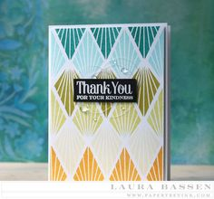 Threads Challenge: Thread Nests - Thank You Card by Laura Bassen for Papertrey Ink (August 2015)