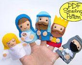 PDF Pattern: Prehistoric Friends Felt Finger Puppets. $5.00, via Etsy.