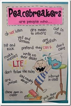 No David! Peacebreakers Anchor Chart! It is so stinkin' cute!!!  Also has the positive Anchor Chart and other ideas for peacemaker activities