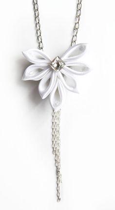 White fabric necklace with rhinestone, kanzashi necklace, wedding necklace…