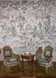 A corner of the tea-salon of Eszterhaza Palace. White-and-gold arm chairs with embroidered upholstery, Chinoiserie wall paper. Eszterhaza Palace was built for Prince Nicholas (1760-1766). Joseph Haydn was court musician to the prince.  Eszterhaza Palace, Fertoed, Hungary