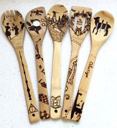 Harry Potter wood burned spoons. Custom, personalize, free shipping. Quidditch, hogwarts castle, deathly hallows three brothers, map, always