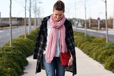 Plaid coat, total denim, red complements, selfdressed, redhaired, streetstyle