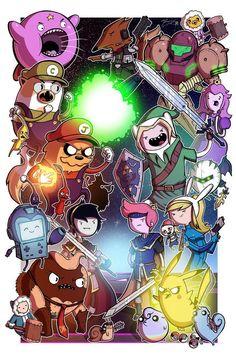 Nintendo / Mario vs Link / Adventure Time Crossover