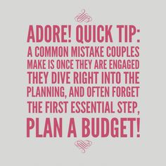 "Money doesn't necessarily always but you happiness or always the ""right"" choice. Create a budget that your comfortable with and stick with it! #weddingplanningtip"