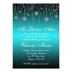 Teal Black Snowflakes Quinceanera Birthday Party Custom Invite