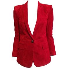 Preowned Balmain Red Suede Blazer (193.695 RUB) ❤ liked on Polyvore featuring outerwear, jackets, blazers, blazer, casacos, coats & jackets, red, red cropped jacket, one button blazer and red jacket