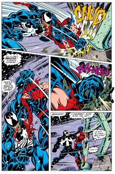 "Venom vs. Spider-Man (from the Amazing Spider-Man #375) by Mark Bagley - ""G-got to... fight..! Got... G-got to... Mom?"""