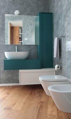 teal accent bathroom