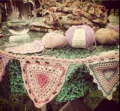 Vintage style crochet bunting