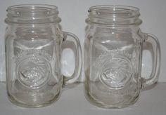 Vintage Golden Harvest Drinking Jars Handle Clear Glass Anchor Hocking Canning 2 #GoldenHarvest