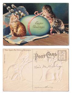 Antiques from the web Easter Greetings 3 Kittens Postcard