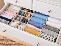 clothes organization File fold clothes to make more space in your drawers and easily find what youre looking for. Organize shirts and accessories with drawer organizers to ensure contents stay visible. Dresser Drawer Organization, Wardrobe Organisation, Organization Hacks, Clothing Organization, Bedroom Organization, Organize Dresser Drawers, Organizing Drawers, Diy Drawer Dividers, Organized Bedroom