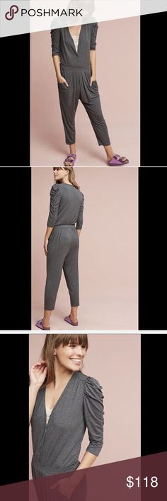 """HD in Paris Stretch Rayon Snap Front Jumpsuit XL Anthropologie HD in Paris gray Stretch Rayon Drapy Snap Front Jumpsuit  heather gray stretch rayon knit drapy one piece V neck with hidden snap front * elastic waist pleated bottom * 3/4 sleeves * cropped relaxed legs New With Tags  *  Size:  X Large  94% rayon * 6% spandex  42"""" around bust 40"""" around waist 16"""" rise 21"""" inseam Anthropologie Pants Jumpsuits & Rompers"""