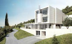 Idea Villa Gardone by Richard Meier & Partners Architects in Gardone Riviera, Italy Richard Meier, Italian Villas For Sale, Casa Patio, Arch House, White Building, Famous Architects, Lake Garda, Villa Design, Facade Design